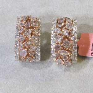 18 KT White Gold Earrings with Natural Pink and White Diamonds