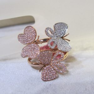 18 KT Rose Gold Butterfly Ring plus Natural Pink and White Diamonds