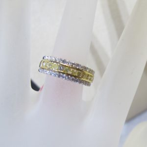 18 KT Yellow Gold Band plus Natural Yellow and White Diamonds