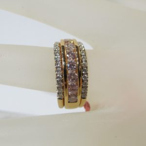 18 KT Rose Gold Band plus Natural Yellow and White Diamonds