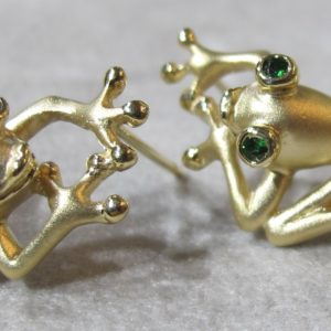 14 KT Yellow Gold Steven Douglas Frog Earrings
