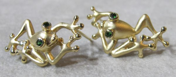 14 KT Yellow Gold Steven Douglas Frog Earrings
