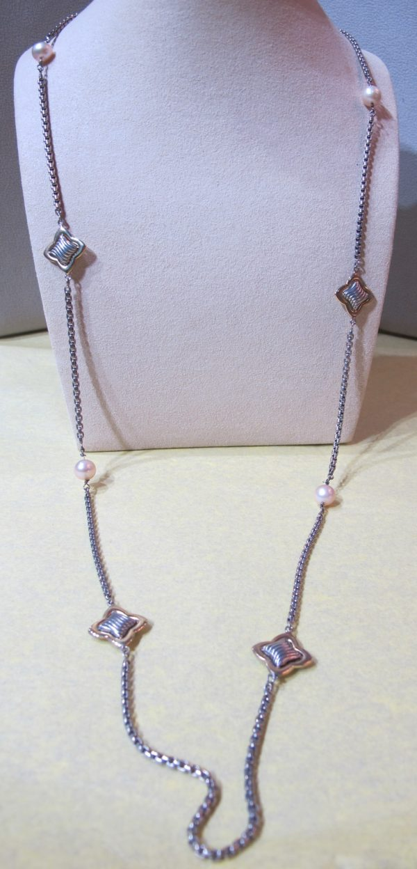 """14 KT Yellow Gold and Sterling Silver """"David Yurman"""" Necklace (Pre-Owned)"""