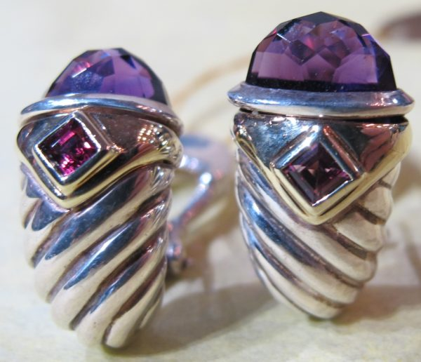 "14 KT Yellow Gold and Sterling Silver ""David Yurman"" Earrings with Amethyst (Pre-Owned)"
