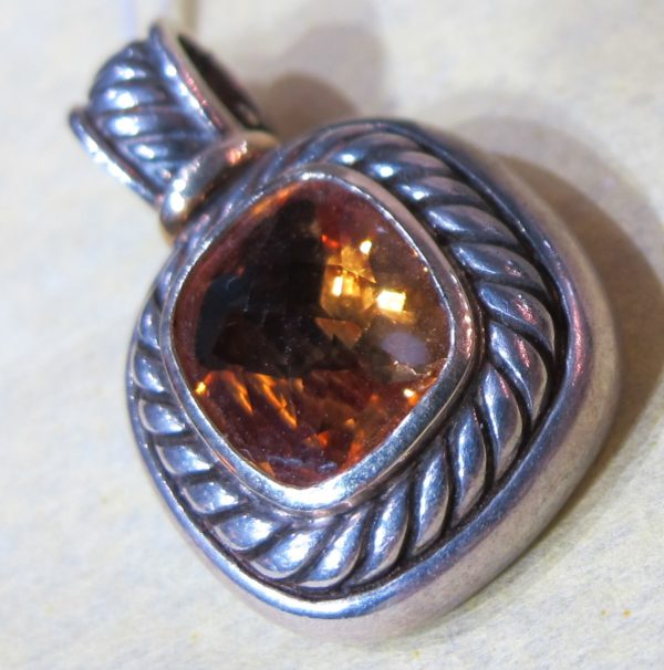 """14 KT Yellow Gold and Sterling Silver """"David Yurman"""" Pendant with Citrine (Pre-Owned)"""