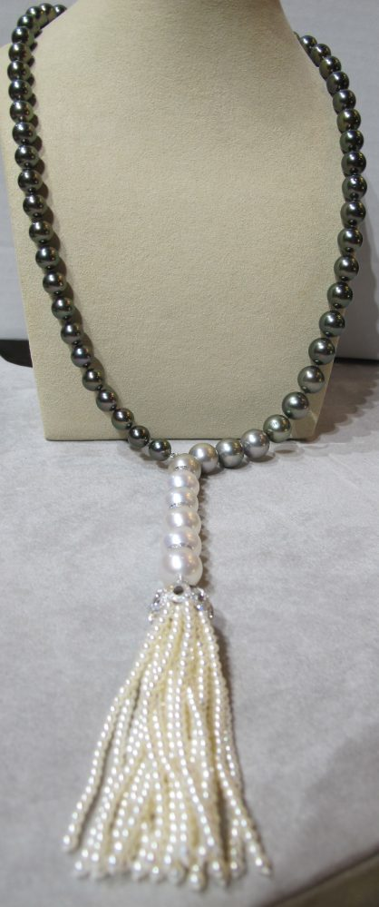 Opera Length Black Tahitian and South Sea Pearl Necklace with Tassel