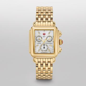 SIGNATURE DECO DIAMOND DIAL GOLD MICHELE WATCH
