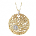 14K GALLERY PENDANT WITH ACCENT DIAMONDS