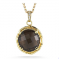 14K SEMI-PRECIOUS COLOR PENDANT WITH DIAMONDS