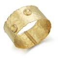 14K GALLERY CUFF SET WITH S.P. STONES AND DIA 0.35CT