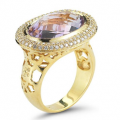 14K-Y COLOR STONE RING SET WITH DIAMONDS