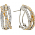 CRISLU CZ HIGHWAY BAND EARRINGS