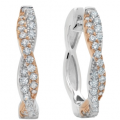 CRISLU 18KT ROSE GOLD CZ TWIST HOOP EARRINGS