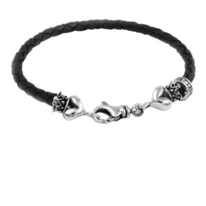KING BABY THIN LEATHER BRAIDED CROWNED HEART BRACELET