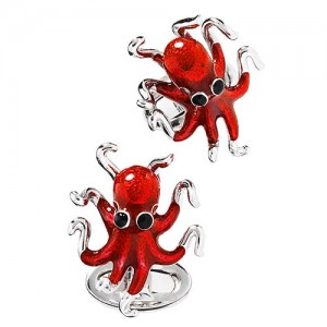 JAN LESLIE ENAMEL OCTOPUS STERLING SILVER CUFFLINKS