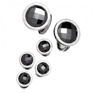 JAN LESLIE FACETED HEMATITE RIVET TUXEDO FORMAL SET - CUFFLINKS AND STUDS