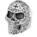 KING BABY LARGE SKULL RING WITH ENGRAVED SCROLLWORK