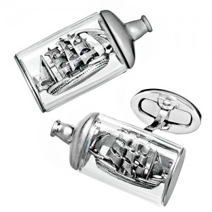 JAN LESLIE STERLING SILVER SHIP IN A BOTTLE CUFFLINKS