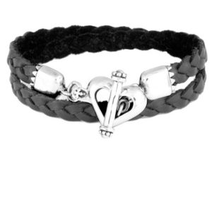 KING BABY DOUBLE WRAP BRAIDED LEATHER BRACELET WITH HEART TOGGLE CLASP