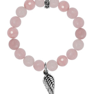 KING BABY ROSE QUARTZ BEAD BRACELET WITH WING