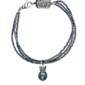 KING BABY THREE STRAND HEMATITE BRACELET WITH CROWNED TAHITIAL PEARL
