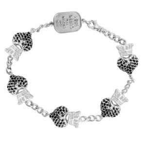 KING BABY BLACK PAVE CZ CROWNED HEART MOTIF BRACELET