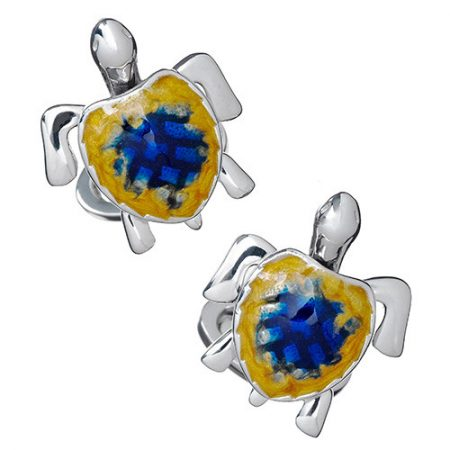 JAN LESLIE MOVING SEA TURTLE CUFFLINKS
