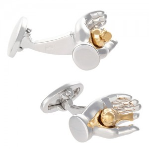 JAN LESLIE GOLD PLATED BIRD IN THE HAND CUFFLINKS