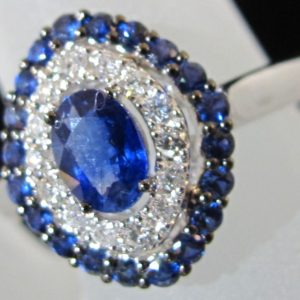 18 KT White Gold Ring with .17 CT tw Diamonds and .97 CT tw with .17 CT tw Sapphires