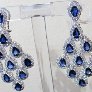 Platinum Chandelier Earrings with 4.52 CT tw Diamonds and 10.44 CT tw Sapphires