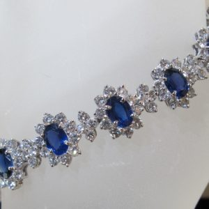 Platinum Bracelet with 9.96 CT tw Diamonds and 13.62 CT tw Sapphires