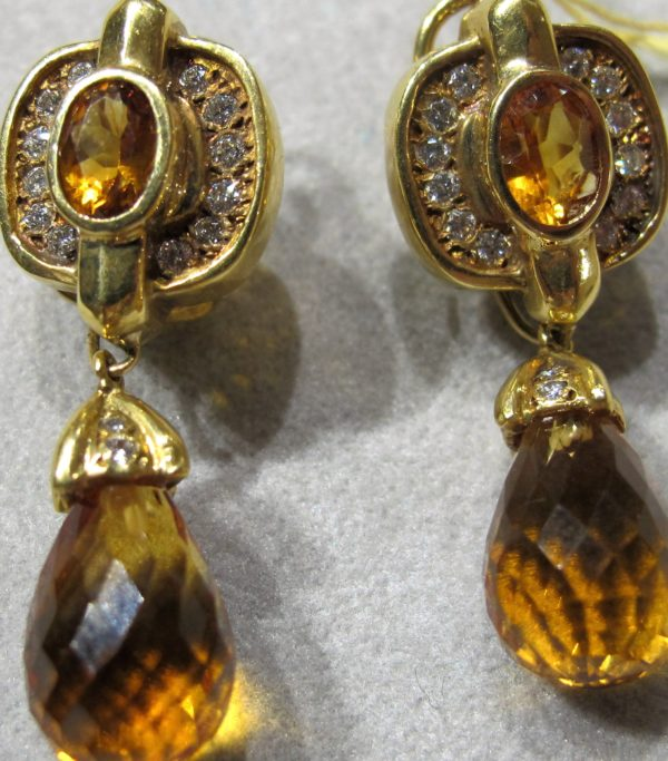 (Pre-Owned) Earrings with 7/8 CT tw of Diamonds and Citrine Drop is Removable