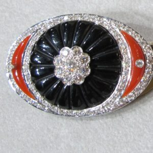 18 KT White Gold Onyx, Coral and Diamond Broach (Pre-Owned)