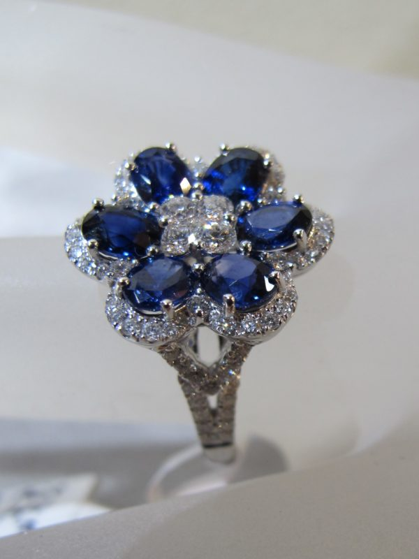 18 KT White Gold Ring with .65 CT tw Diamonds and 2.64 CT tw Sapphires