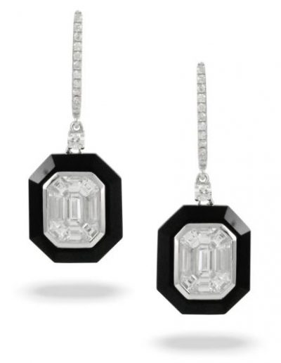 Mondrian White Gold Black Onyx and Invisible Set Diamond Earrings