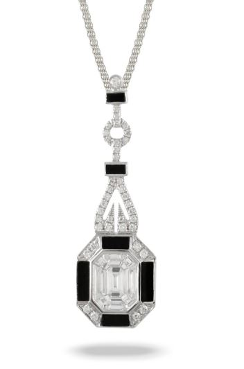 Mondrian White Gold Black Onyx and Invisible Set Diamond Necklace