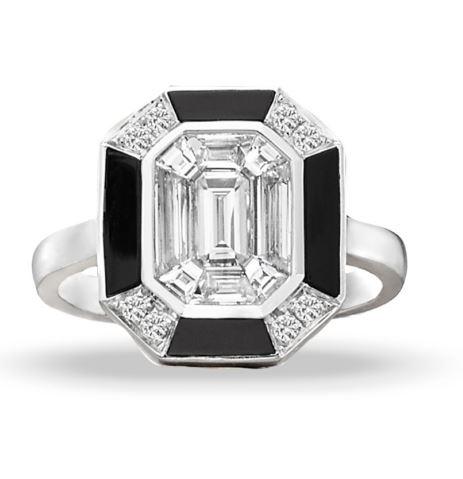 Mondrian White Gold Black Onyx and Invisible Set Diamond Ring