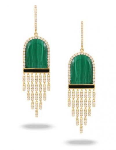 Verde Yellow Gold Malachite & Black Onyx Earring
