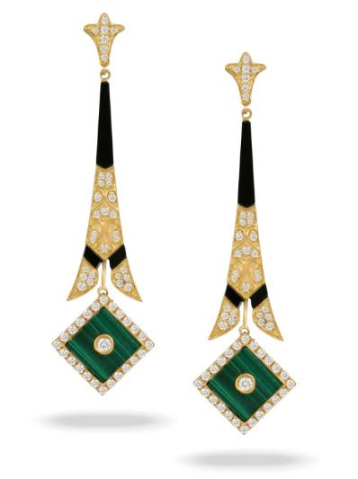 Verde Yellow Gold Malachite & Black Onyx Earrings