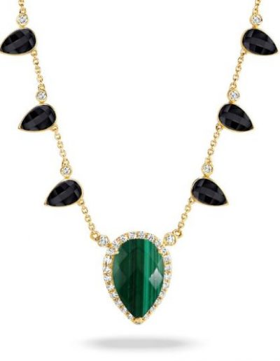Verde Yellow Gold Malachite & Black Onyx Necklace