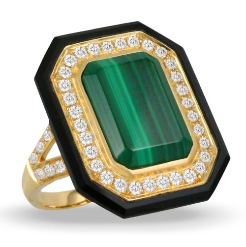 Verde Yellow Gold Malachite & Black Onyx Ring
