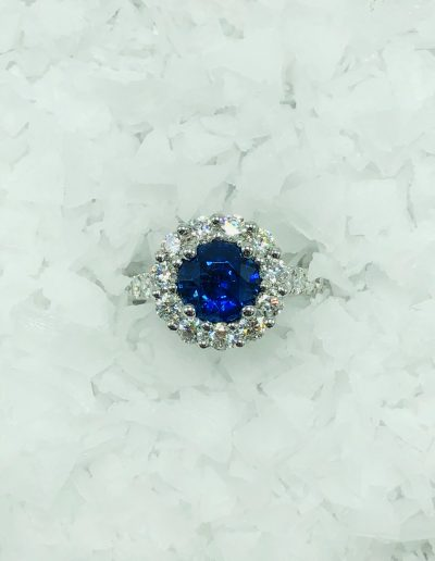 1.96 CT Sapphire with 1.25 CT White Diamonds