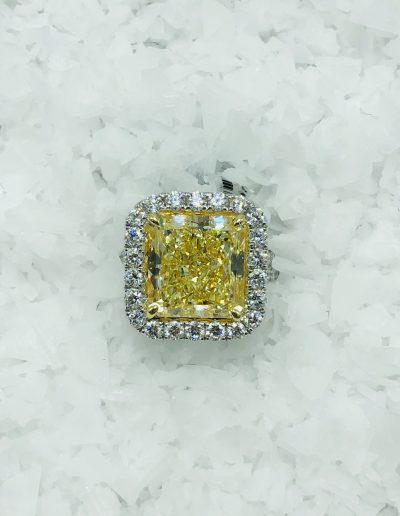10.03 CT Yellow Diamond with 1.56 White Diamonds GIA Certified