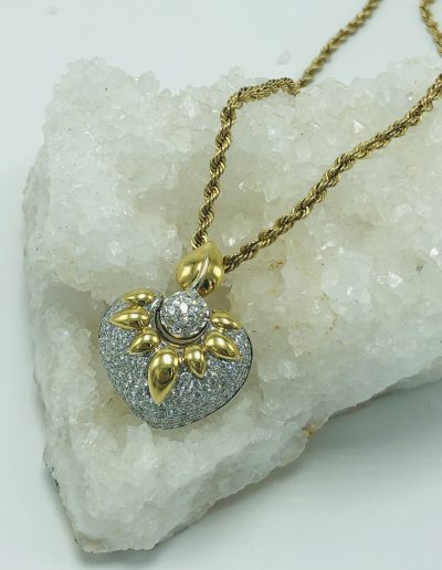 18K Heart Pendant with 7.60 CT of Diamonds